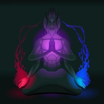 Медитация на объединение противоположности внутри векторная иллюстрация
