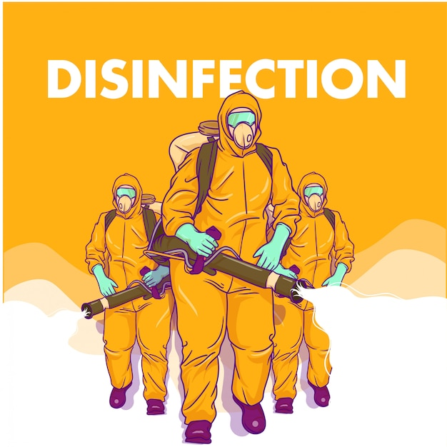 Illustration about men doing the disinfection