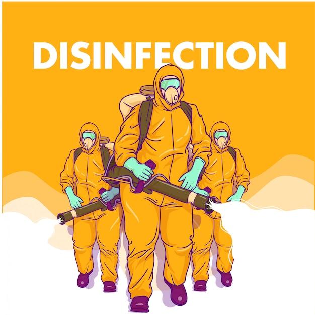 Иллюстрация о мужчинах, выполняющих дезинфекцию
