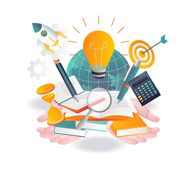 Illustration about school and learning investment business