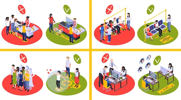 Illustrazione sul distanziamento sociale e la nuova normalità