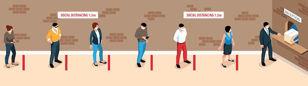 Illustration about social distancing and new normality