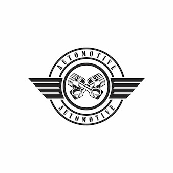 Illustration abstract badge piston motorcycle with wings sign design