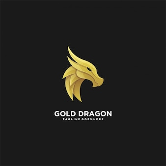 Illustration  abstract head gold dragon luxury