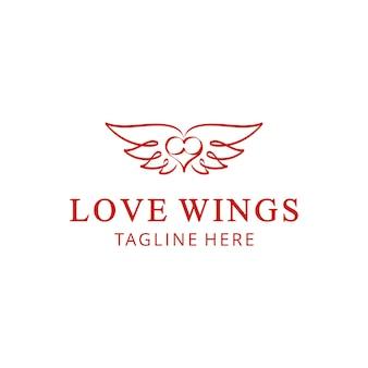ロゴデザインテンプレートバレンタインを飛ぶ翼を持つイラスト抽象的な心はエンブレムを祝う