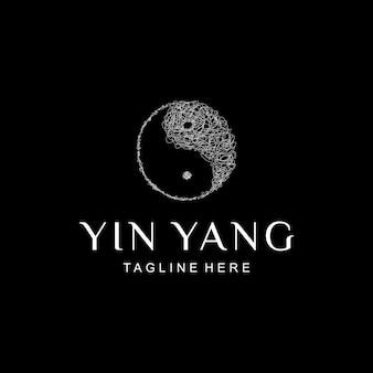 Illustration abstract line make a circle yin yang symbol art sign design