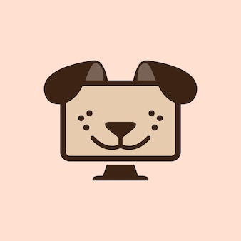 Illustration abstract little dog face on monitor computer technology logo design template