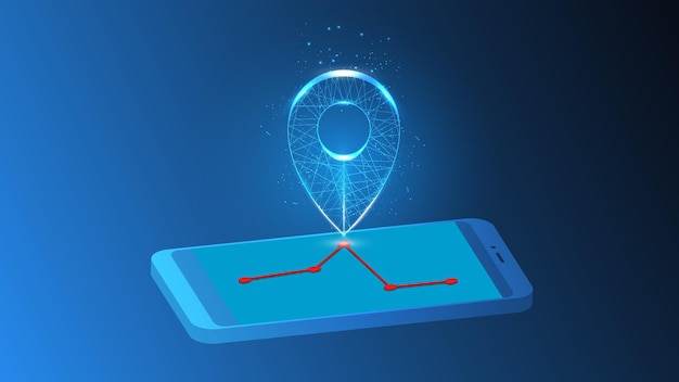 Illustration of an abstract luminous marker on a road route on a mobile phone.
