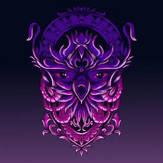 Illustration of abstract owl head