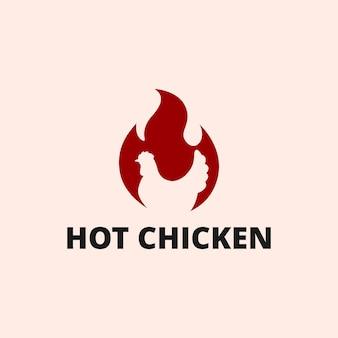 부정적인 공간 치킨 동물 기호 로고 디자인 그림 추상 붉은 뜨거운 불 불꽃