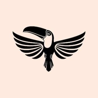 イラスト抽象的なシルエットオウム鳥動物デザインロゴベクトルマスコットサイン