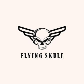 翼のロゴデザインテンプレートベクトルエンブレムで飛んでいるイラスト抽象的なシルエットの頭蓋骨