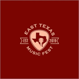 부정적인 공간 기타 음악 국가 로고 디자인 그림 추상 텍사스 지도