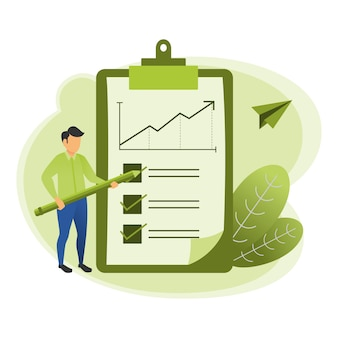 Illustration of an accountant checking the sales report using a pencil with leaf