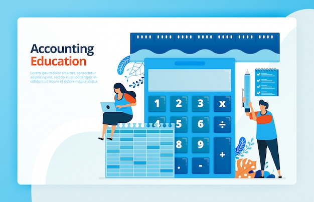 Illustration of activities from accounting and measurement education. calculator for calculation. ruler to measure finances. bookkeeping learning.