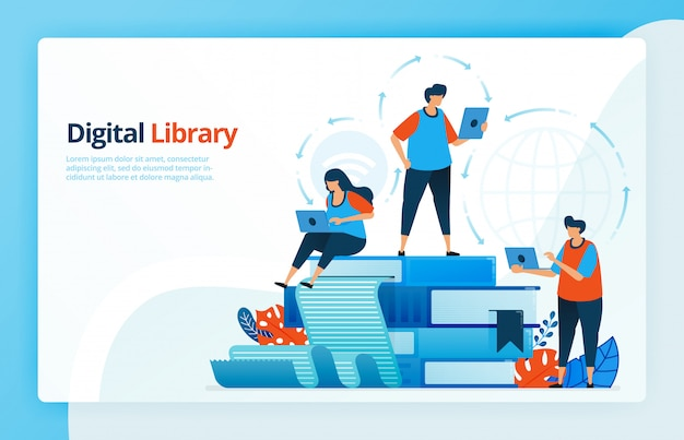 Illustration of activities from distance learning and digital libraries.