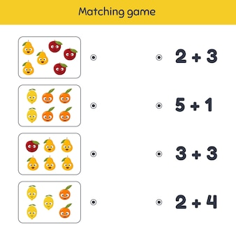 Illustration. addition. matching game. fruits. worksheet for kids kindergarten, preschool and school age.