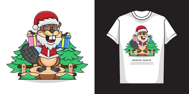 Illustration of adorable beaver with t-shirt   design