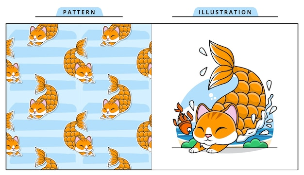 Illustration of adorable cat mermaid with decorative seamless pattern