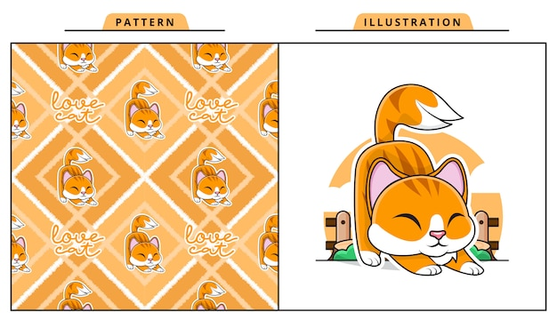 Illustration of adorable cat with decorative seamless pattern