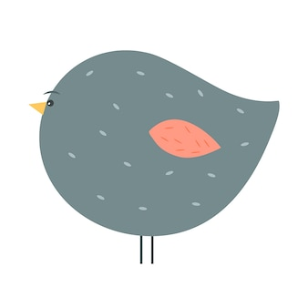 Illustration of adorable chubby gray bird with red wing isolated on white.