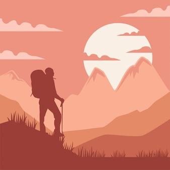 Illustration adventure mountain climbing