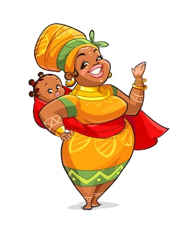 Illustration of african mother with her baby