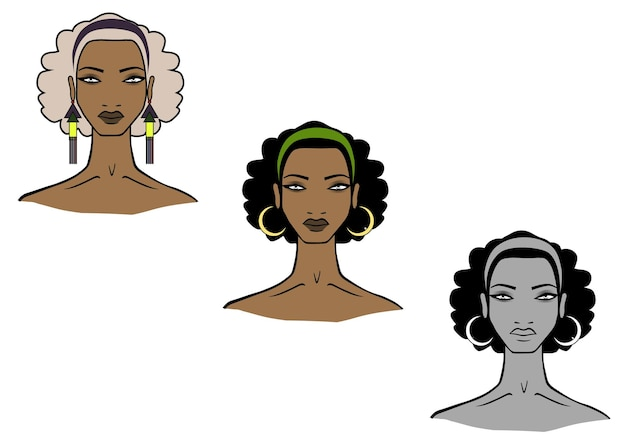 Illustration of african women face on white background
