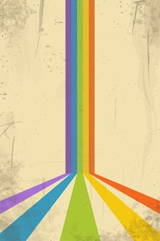 Illustration of aged vintage rainbow abstract background grungy