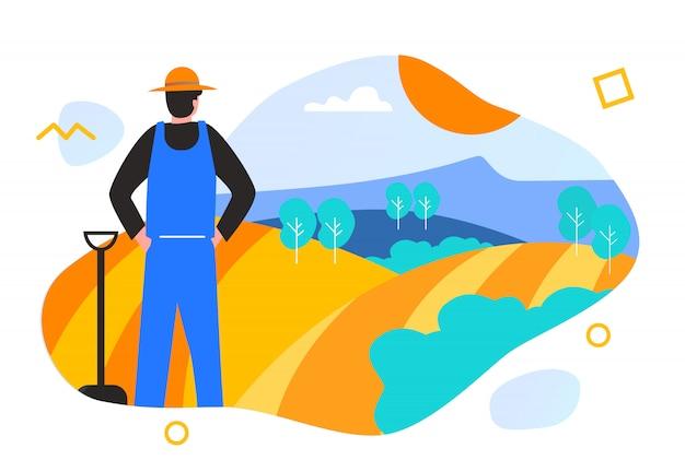 Illustration agricultural bio tech farmer implementation go green