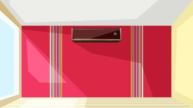 Illustration of air conditioner on red wall at bright interior apartment