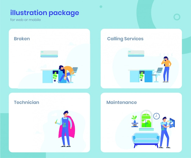 Illustration of air conditioner service Premium Vector
