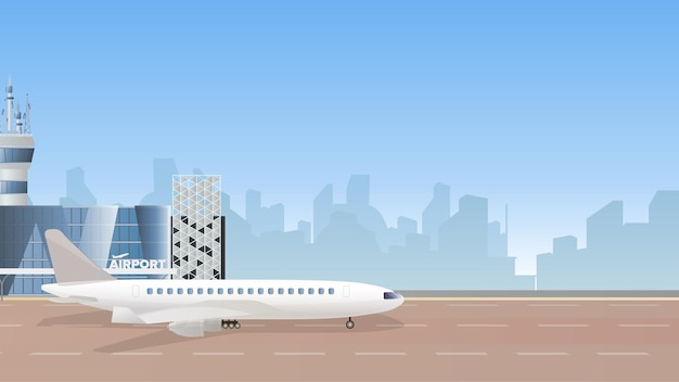 Illustration of an air terminal building with a large plane and an airplane taking off against