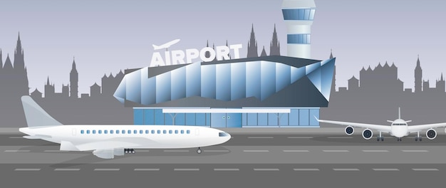 Illustration of an air terminal building