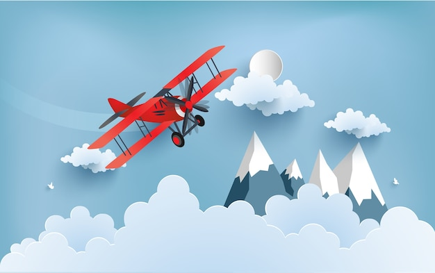 Illustration of an airplane over a cloud.