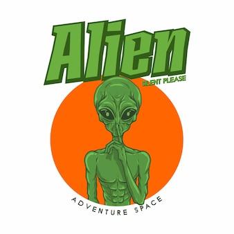 Illustration alien asking silence