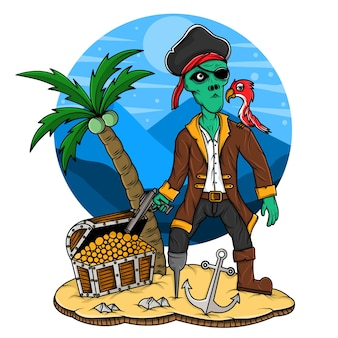 Illustration of alien pirate with bird