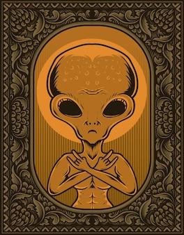 Illustration alien on vintage engraving ornament frame