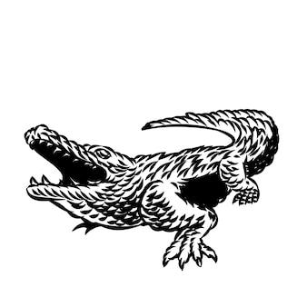 Illustration of alligator vintage vector for logo