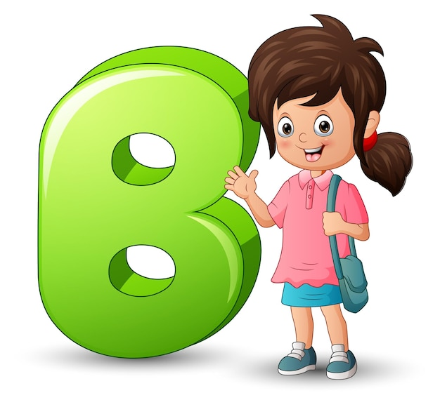 Illustration of alphabet b with cute girl waving hand