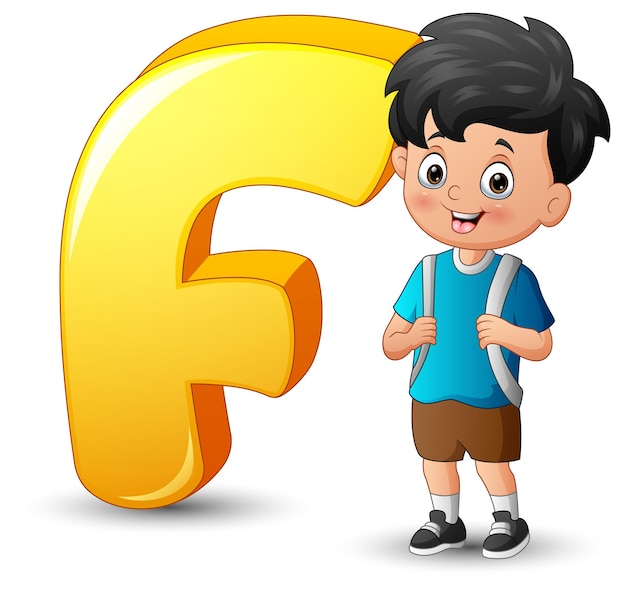Illustration of alphabet f with school boy standing