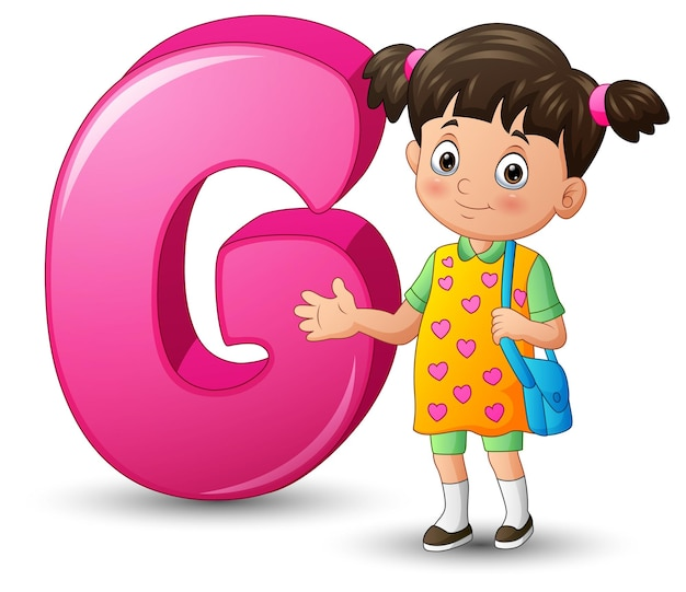 Illustration of alphabet g with a school girl standing