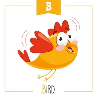 Illustration of alphabet letter b and bird