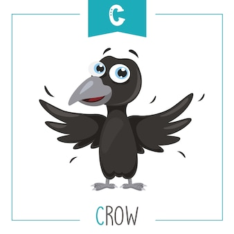 Illustration of alphabet letter c and crow