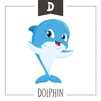 Illustration of alphabet letter d and dolphin