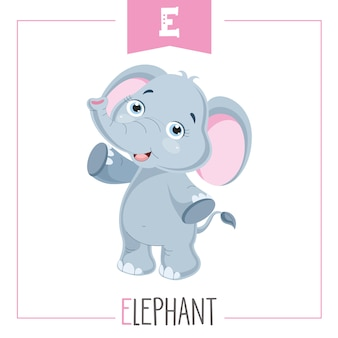 Illustration of alphabet letter e and elephant