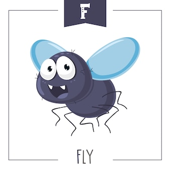 Illustration of alphabet letter f and fly