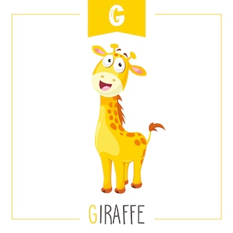 Illustration of alphabet letter g and giraffe
