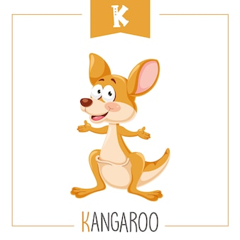 Illustration of alphabet letter k and kangaroo