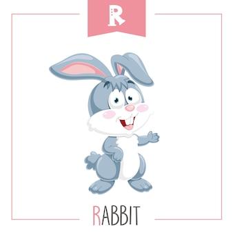 Illustration of alphabet letter r and rabbit